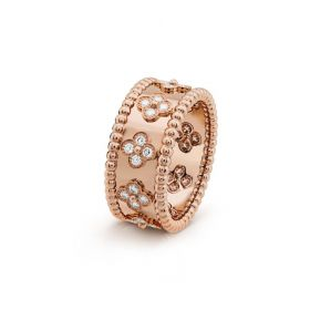 VCA Imitation Perlee Clovers Lady Wide Ring Rose Gold-plated Diamonds Beaded Border 2018 Sale France VCARO9NB00