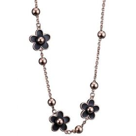 Van Cleef & Arpels Floral Socrate Rose Gold-plated Chain Necklace Decked Bead Black Flower Enamel Malaysia Review