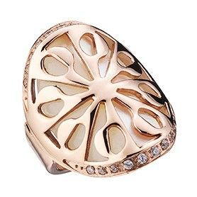 Chic Bvlgari Intarsio Flower Detail Ring Rose Gold-plated Hollow-out Design Decked Pearl Sale Italy Lady AN855768
