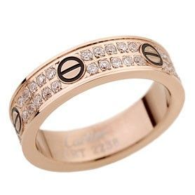 Cartier Love Rose Gold-plated Crystals Inlaid Black Enamel Screw Detail Ring For Lady Sale Dubai