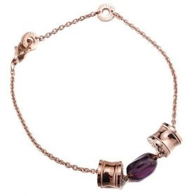 Bvlgari B.zero1 Spiral pendant Purple Crystal Chain Bracelet Rose Gold-plated UK Price For Office Lady
