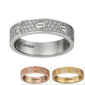 Cartier Love Three Lines Decked Crystals Wide Ring With Screw Motif For Lady Price Paris B4083400/B4083300/B4085800