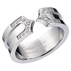 C De Cartier Crystals Inlaid Logo Silver-plated Ring Office Lady Celebrities On Sale Dubai