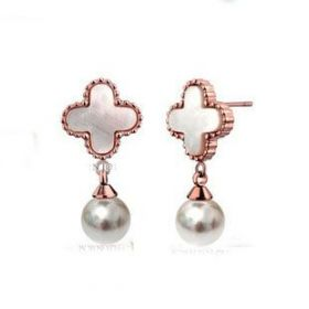 VCA Sweet Alhambra Rose Gold-plated Drop Earrings Pearl Pendant Clover Decoration Online Store Paris