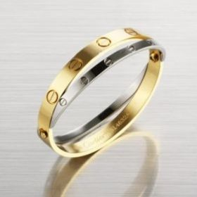 Cartier Love Yellow/White Gold-plated Phony Double Bangle Screw Motif Modern For Unisex Sale UK