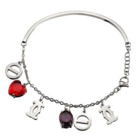 Dupe C De Cartier Silver Studded Red/Purple Crystals Chain Bracelet Screw Charm Price France Lady