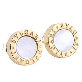 Bvlgari Bvlgari Gold-plated Mother Of Pearl Studded Round Earrings Shopping Dating Women Singapore Price