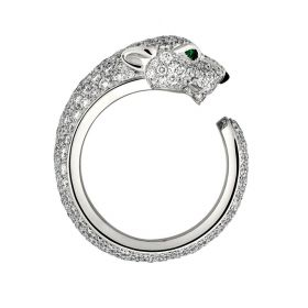 Panthere De Cartier Women Silver-plated Crystals Decked Leopard Open Ring Emerald Eyes Price List 2018 N4225200