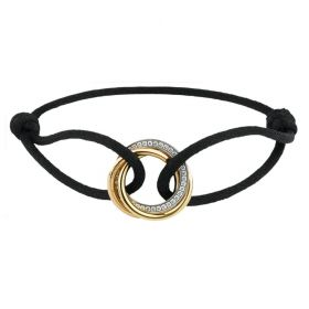 Trinity De Cartier Black Cord Tri-color Circle Pendant Studded Crystals Women Men Gift Price UK B6033200