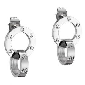 Cartier Love Silver-plated Screw Motif Circle Charm Eardrop Party For Sale Women Gift