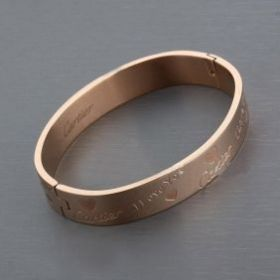 """Cartier Rose Gold-plated """"I Love You"""" Heart Pattern Wide Bangle Sweet Style Singapore Sale Online"""