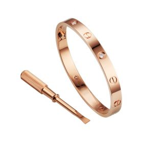 Wholesale Cartier Love Rose Gold-plated Crystals Screw Pattern Bangle Noble Singapore Review Girls