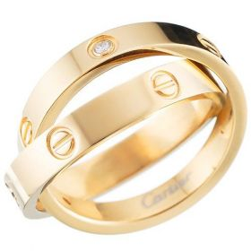 Cartier Spicy Love interlocking Crystal Ring Gold-plated Screw Pattern Retro Style For Unisex