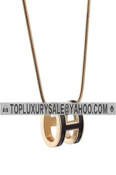 Hermes Pop H Gold-plated Black Lacquered Pendant Chain Necklace Girls Boys Sale Online France Celebrities