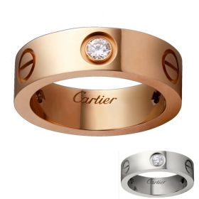 Cartier Love Pink/Yellow Gold-plated Three Crystals Wide Band Screw Motif Unisex Valentine Gift Sale B4087500/B4032500
