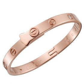 Cartier Love Rose Gold-plated Diamonds Bangle Screw Motif Replica Elegant Lady London On Sale