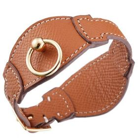 Hermes Replica Brown Leather Bangle Gold Plated Clasp Bracelet For Women & Men Fashion Design Price UK