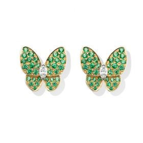 VCA Fauna Two Butterfly Gold Ear-stud Decked Green Crystals New Arrival Women Price Malaysia