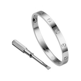 Cartier Love Screw Motif Silver-plated Bangle Classic Women/Men Style Screwdriver Price List America B6035417