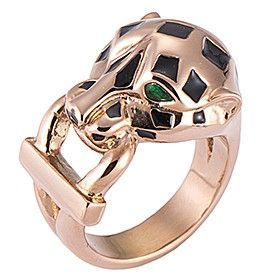 Panthere De Cartier Rose Gold-plated Ring Enamel Leopard With Lock Decoration Party Queen Australia Sale B4221400