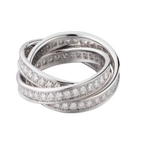 Cartier Trinity Ring White Gold-plated Decked Crystals Valentine Gift For Lady Malaysia B4106200