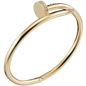 Cartier Juste Un Clou Gold-plated Screw Sculpt Bangle Engraved Crystals Couple Style Price Malaysia B6048617
