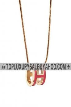 Phony Hermes Pop H 3D Rosy Lacquer Pendant Chain Necklace Birthday Gift For Girls USA