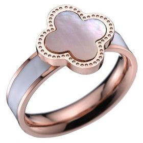 Copy Van Cleef & Arpels Magic Alhambra Ornate Pearl Decked Clover Ring Celebrity Style Canada