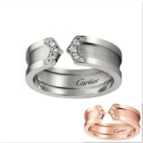C De Cartier Silver/Pink Gold Wide Band Encrusted Crystals Engagement Ring Women/Men Price Canada B4044200