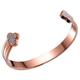 Van Cleef & Arpels Narrow Cuff Bangle Rose Gold-plated Crystals Clover Decked Sale UK Women