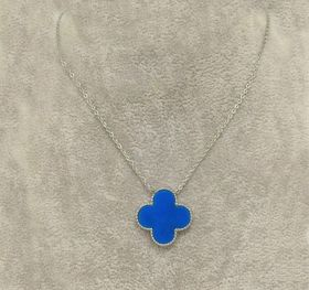 Clone VCA Sweet Alhambra Red/Blue Clover Charm Silver Chain Necklace Online London Girls