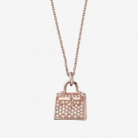 Luxury Hermes kelly Amulette Diamonds Paved Bag Pendant Ladies Necklace Silver/Yellow/Rose H109613B 00
