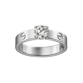 Fashion Cartier Love Solitaire Silver Crystal Engagement Ring Unisex Style Screw Motif Dubai Sale N4723700