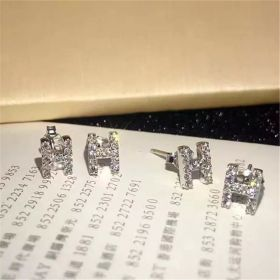 Hermes Silver Paved Crystals H Logo Ear Studs Personalized Couple Style Price 2018 Malaysia