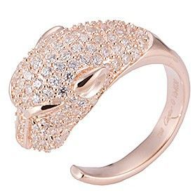 Panthere De Cartier Imitation Rose Gold-plated Leopard Head Open Ring Paved Crystals Lady Online Paris