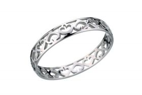 Cartier Hearts And Symbols Classic Style Silver-plated Bangle Hollow Design Price Singapore Women Sale