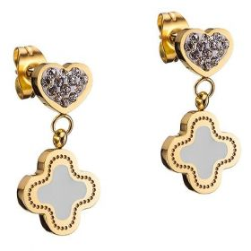 Van Cleef & Arpels Magic Alhambra Gold-plated Clover Pendant Drop Earrings Decorated Crystals Heart America Price List