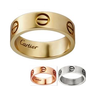 Cartier Love Silver Pink/Yellow Gold-plated Wide Ring With Screw Motif Wedding Gift For Women & Men Sydney B4084600/B4084800/B4084700