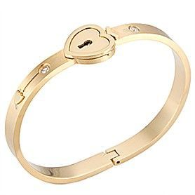 Cartier Gold-plated Bangle Necklace Jewelry Set Studded Crystals Heart Lock Online India Women