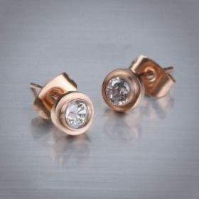 Cartier Rose Gold-plated Round Ear-stud Studded Diamond Wedding Gift Fake Sale Paris For Women
