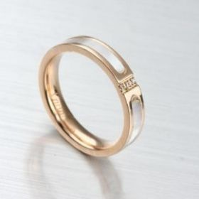 Cartier Silver/Rose Gold-plated Crystals Ring With White Enamel New Arrival Elegant Online Shop India