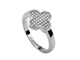 VCA Magic Alhambra Silver Narrow Ring Encrusted Diamonds Bead Celebrities Clover Design Lady Sydney Price