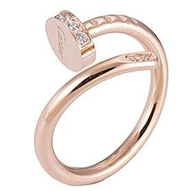 Cartier Juste Un Clou Nail Shape Ring Rose Gold Color Decorated Crystals Shopping/Dating Women Sale B4094800