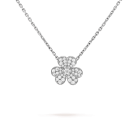 Fashion Trends Van Cleef & Arpels Sterling Silver Clover-shaped Diamonds Pendant Ladies Small Model Fake Necklace VCARD31800