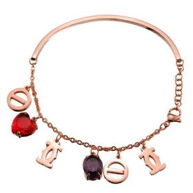 C De Cartier Rose Gold-plated Charms Bangle Red/Purple Crystals Bracelet Screw Motif Lovely Girl Sale