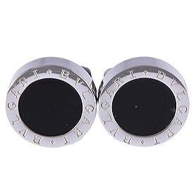 Modern Style Bvlgari Bvlgari Silver Men Cufflnks Black Center With Logo For Men Sale Australia