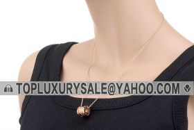 Bvlgari B.zero1 Spiral Pendant Studded Three-row Crystals Logo Rose Gold-plated Necklace On Sale Unisex