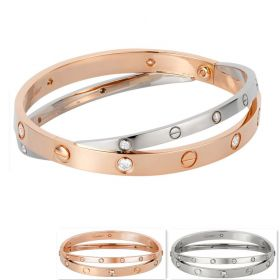 Cartier Love Women Pink/White Gold-plated Double Bangle Adorned Crystals Screw Detail Party Style India Sale N6039117/N6709617/N6709517