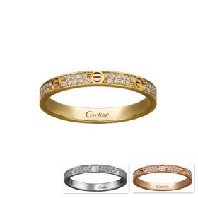 Cartier Love Noble Two-row Crystals Decked Screw Detail Narrow Ring White/Pink/Yellow Gold-plated Sale 2018 Lady B4218000/B4218100/B4218200