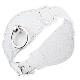 Hermes Delicate Circle Silver Buckle White Leather Bangle Couple Style Sale Online America